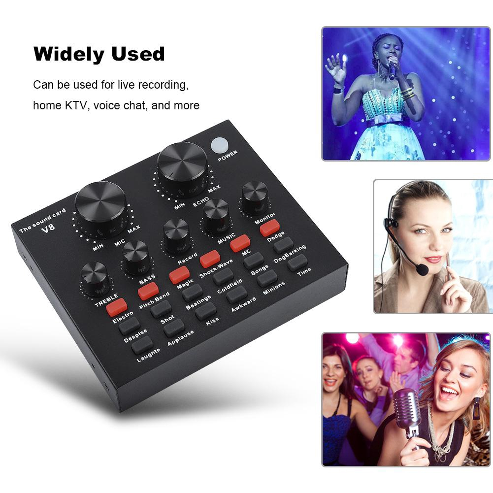 Mobile Phone Webcast Live Sound Card External USB Voice Changer for Mobile Phone Computer Live Sound Card for Singing Recording Live Broadcast External Sound Card