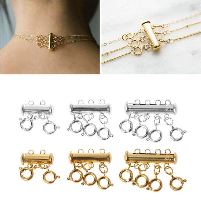 5 Sets Magnetic Necklace Clasp Jewelry Fashion Bracelet Silver Fastener Link New