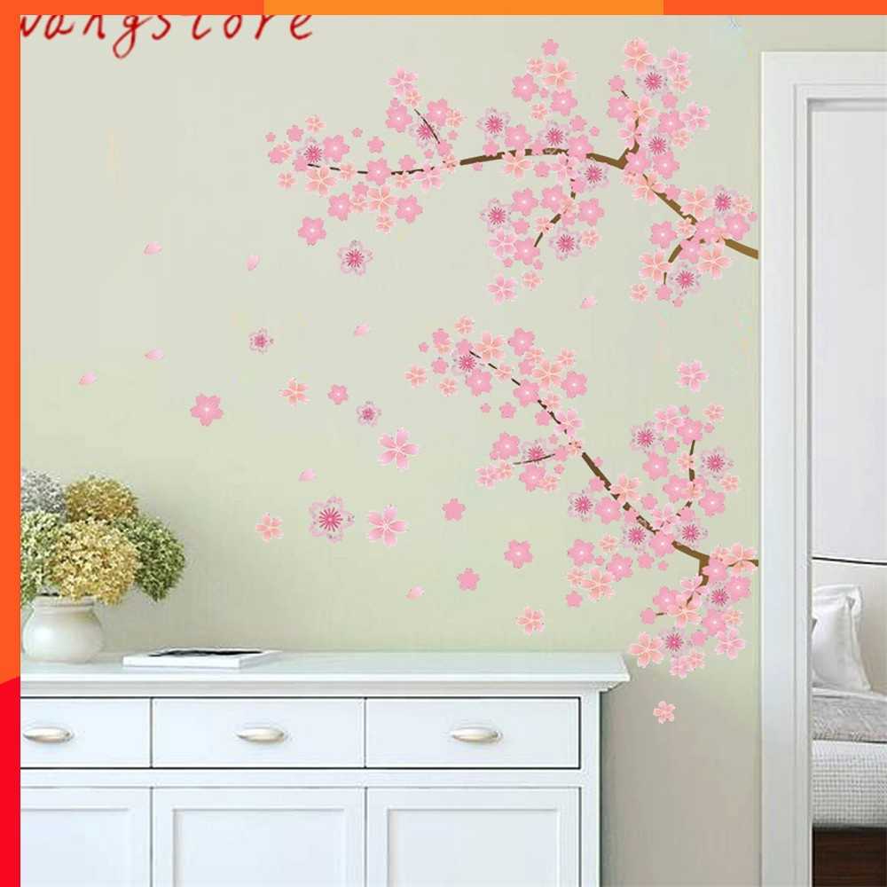 Pink Cherry Blossoms Tree Romantic Garden Diy Home Decal Wall