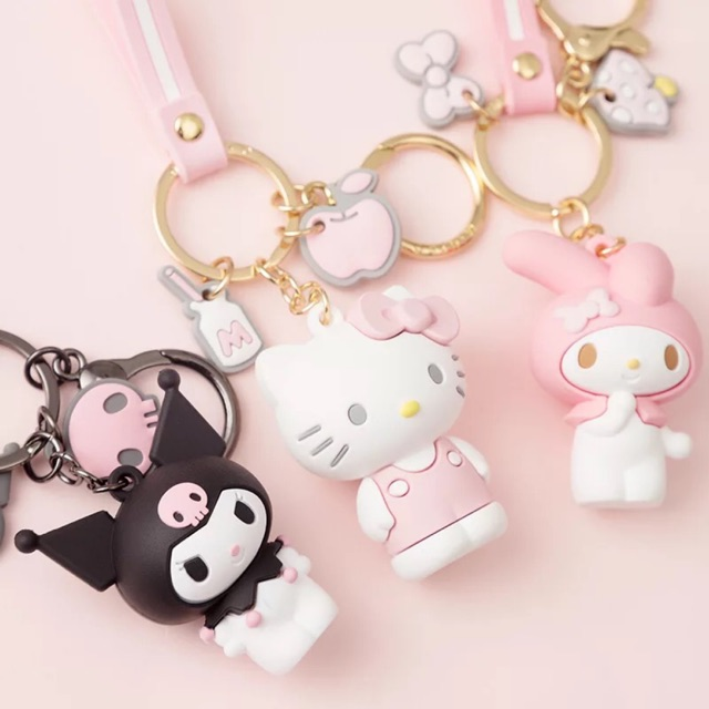 Hello Kitty Key Chain Bag Charm Pink and White Cartoon Cat Pink Bow