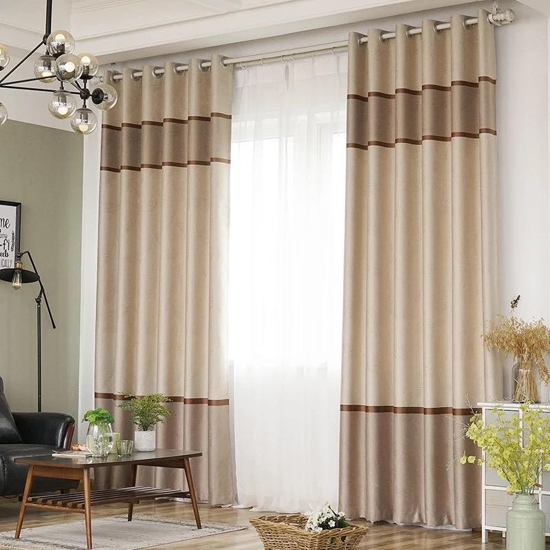 Band 3in1 Set Brown Black Out Curtains, Black And Brown Curtains