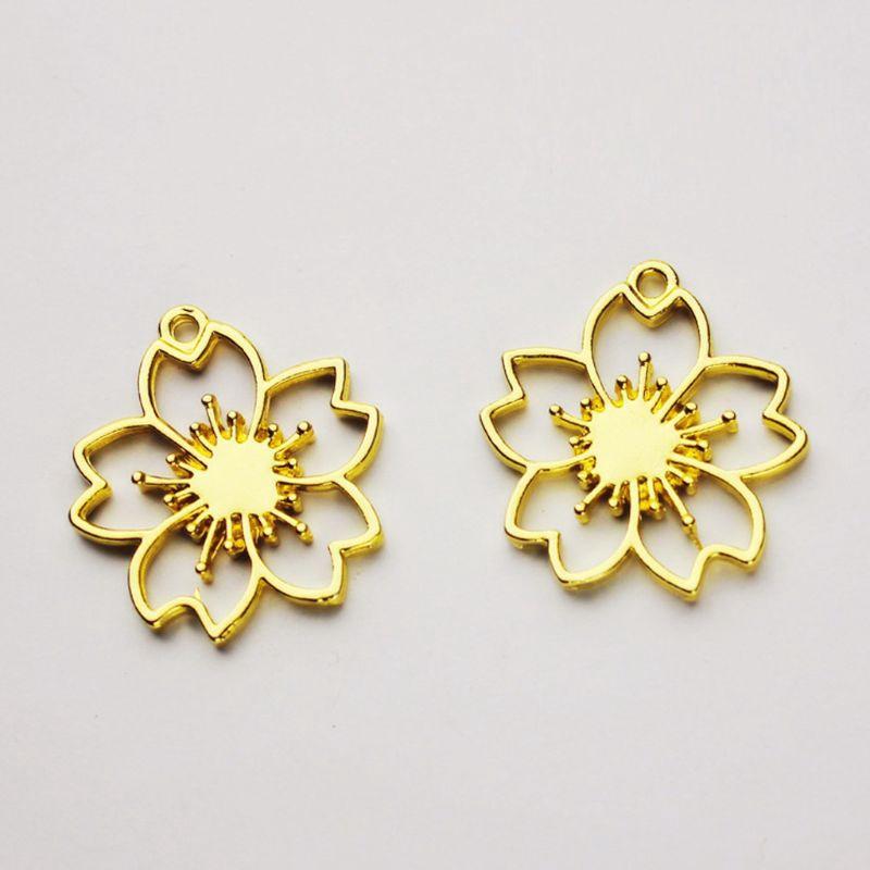 5Pcs Flower Lollipop Resin Frame Pendant Open Bezel Setting Resin Jewelry Making