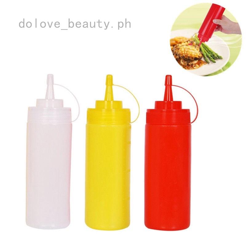 3 HOLE LID SQUEEZE BOTTLE Plastic Ketchup Sauce Mustard Dispenser Condiment