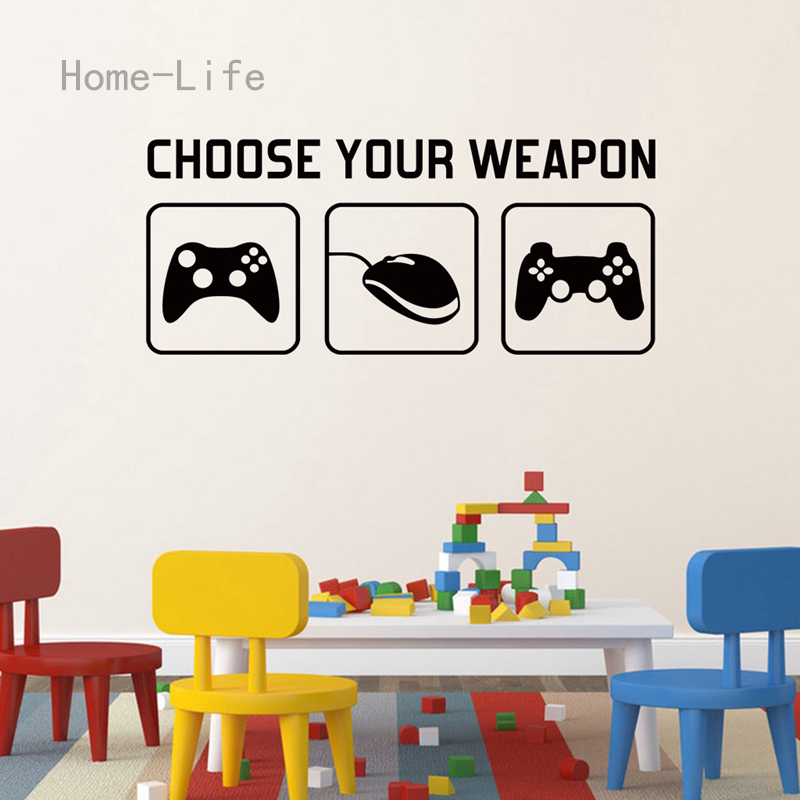 Home Life Game Wall Sticker Decal Choose Your Weapon Gamer Quote Controller Video Game Boys Bedroom Shopee Philippines