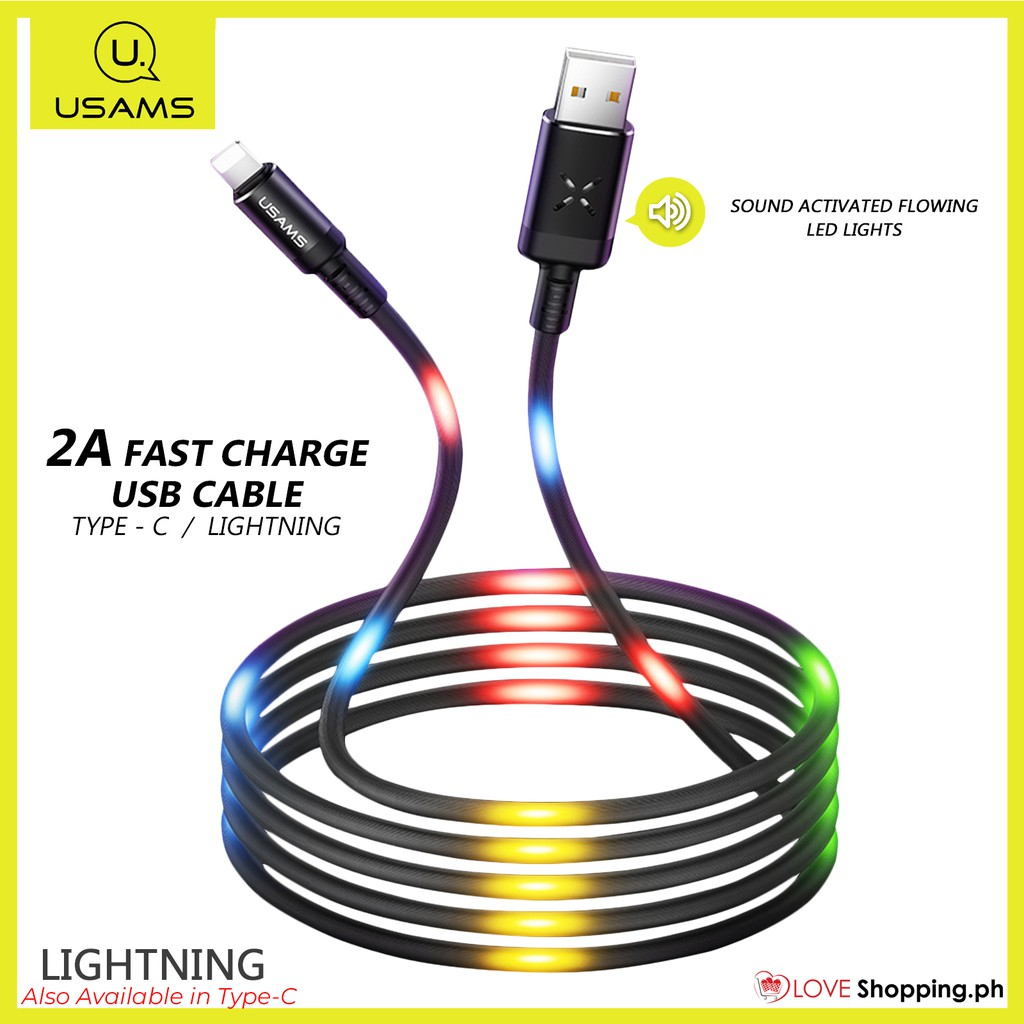 Usams LED USB-C Type-C 3.1 Quick QC Charger Fast Charging Data Sync Cable Cord