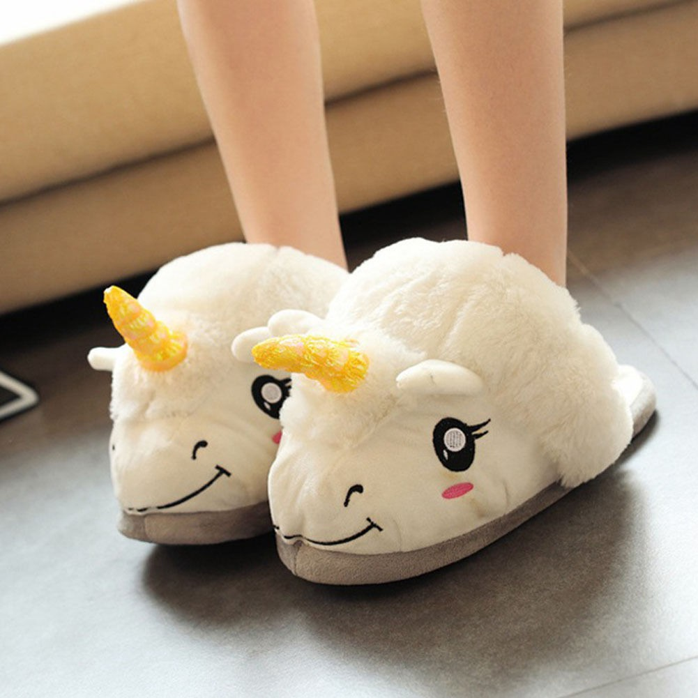 bf72ea9acbad Unisex Unicorn Cute Cotton Slippers Fluffy Plush Slippers