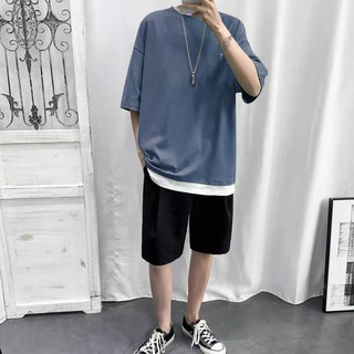 Men S Sportswear Men S Suit Summer Trend With Loose Korean Style Handsome Sports And Casual Wear Male Student Short Sleeve Two Piece Suit Shopee Philippines