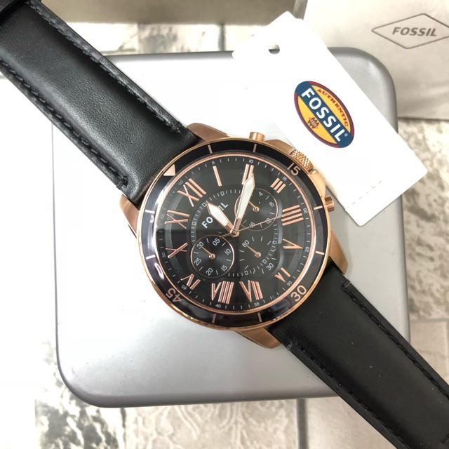 FOSSIL Grant leather chronograph watch