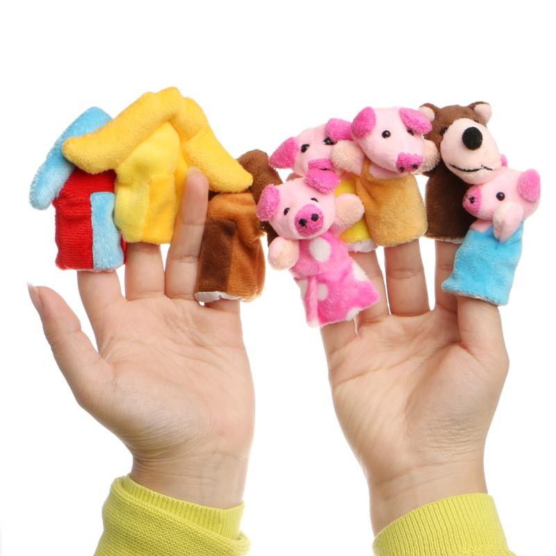 Finger Puppets Educational Hand Toy Kids Story Three Little Pigs Finger Doll bg