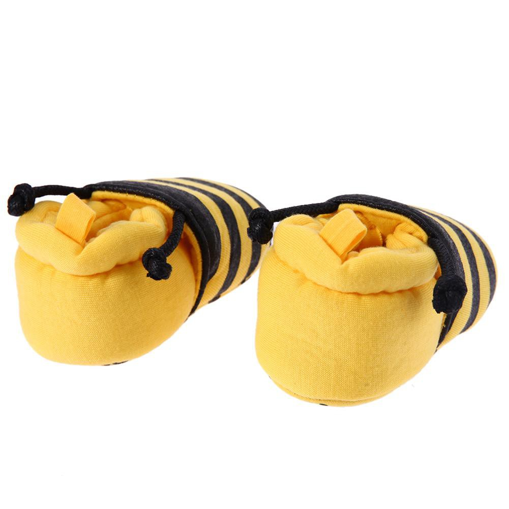 Cartoon Yellow Bee Pattern Baby Shoes Elastic Band Soft First Walker Shoes