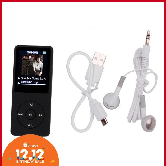 "Portable 1.8 /"" TFT Screen RUIZU X02 HiFi MP3 MP4 Music Player FM Recorder BLACK"