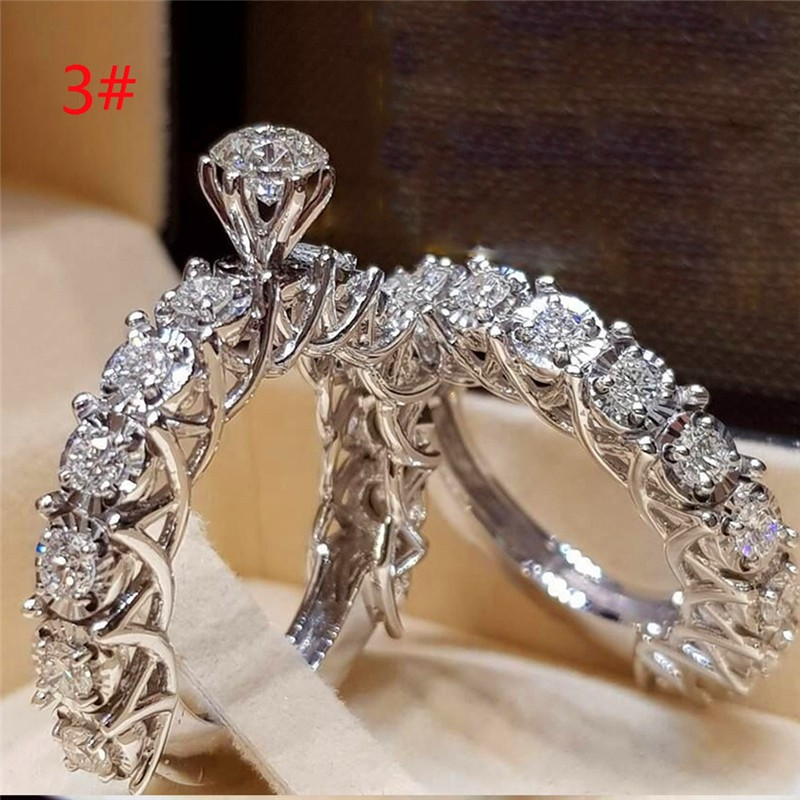 951 ENGAGEMENT WEDDING SET SIMULATED DIAMOND STAINLESS STEEL HIGH POLISHED RING