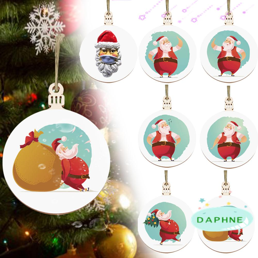 Santa Claus Wood Tree Decoration Hanging Quarantine Gift Christmas Ornament