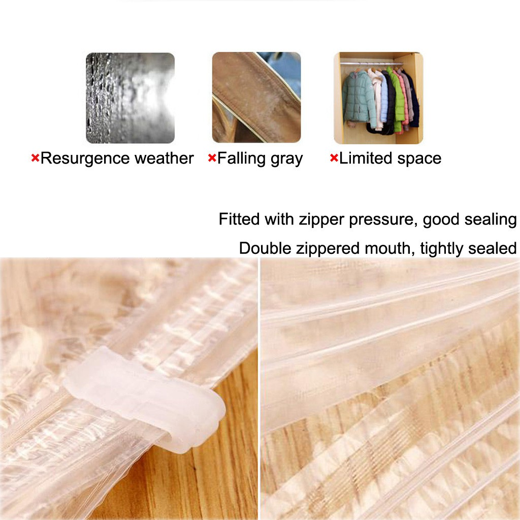 Storage Bags Can Hang Vacuum Bag For Clothes Foldable Transparent Border Compression Organizer Pouch Sealed Save Space organizer-90x67cm