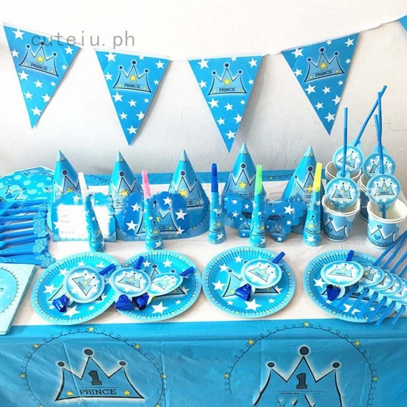 Christmas Birthday Party.Christmas Birthday Party Decoration Set Birthday Blue Prince Crown Theme Party Supplies Baby