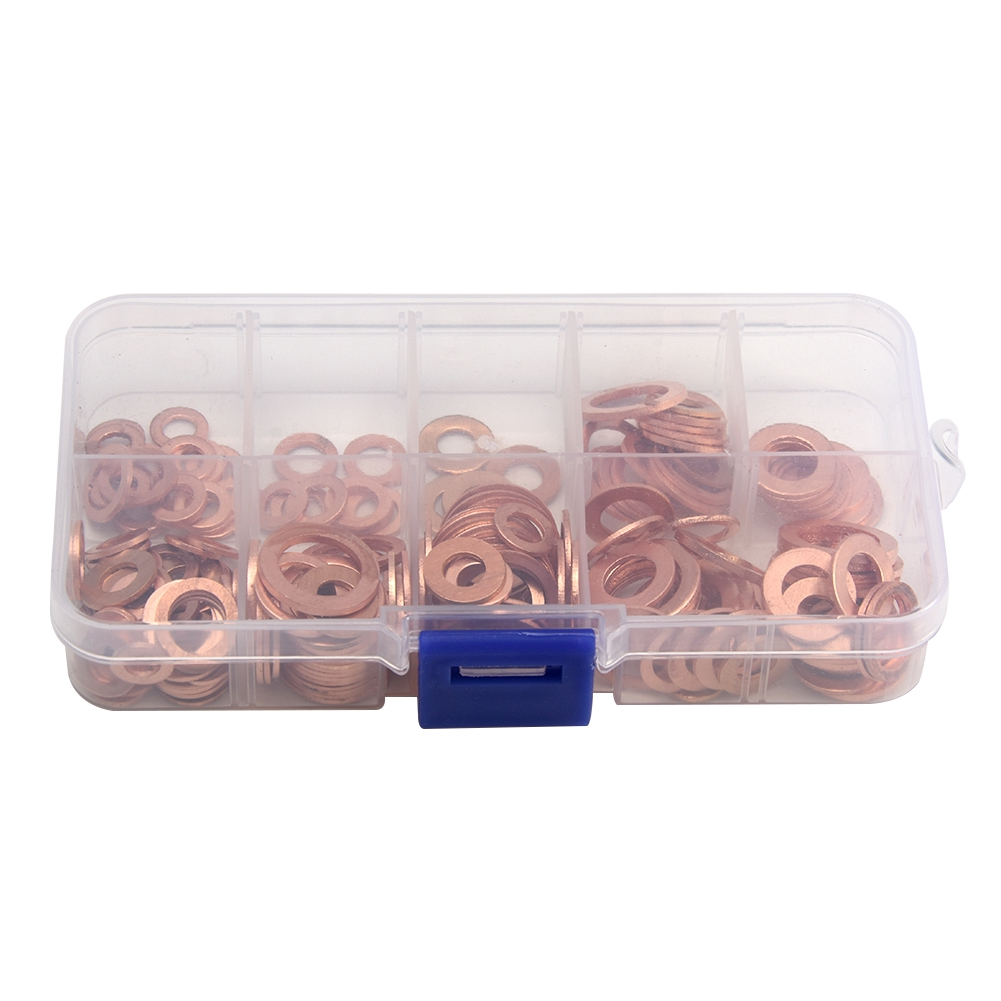 30PCS 18mm OD 12mm ID 1mm Thick Copper Washer Flat Ring Oil Brake Line Seal