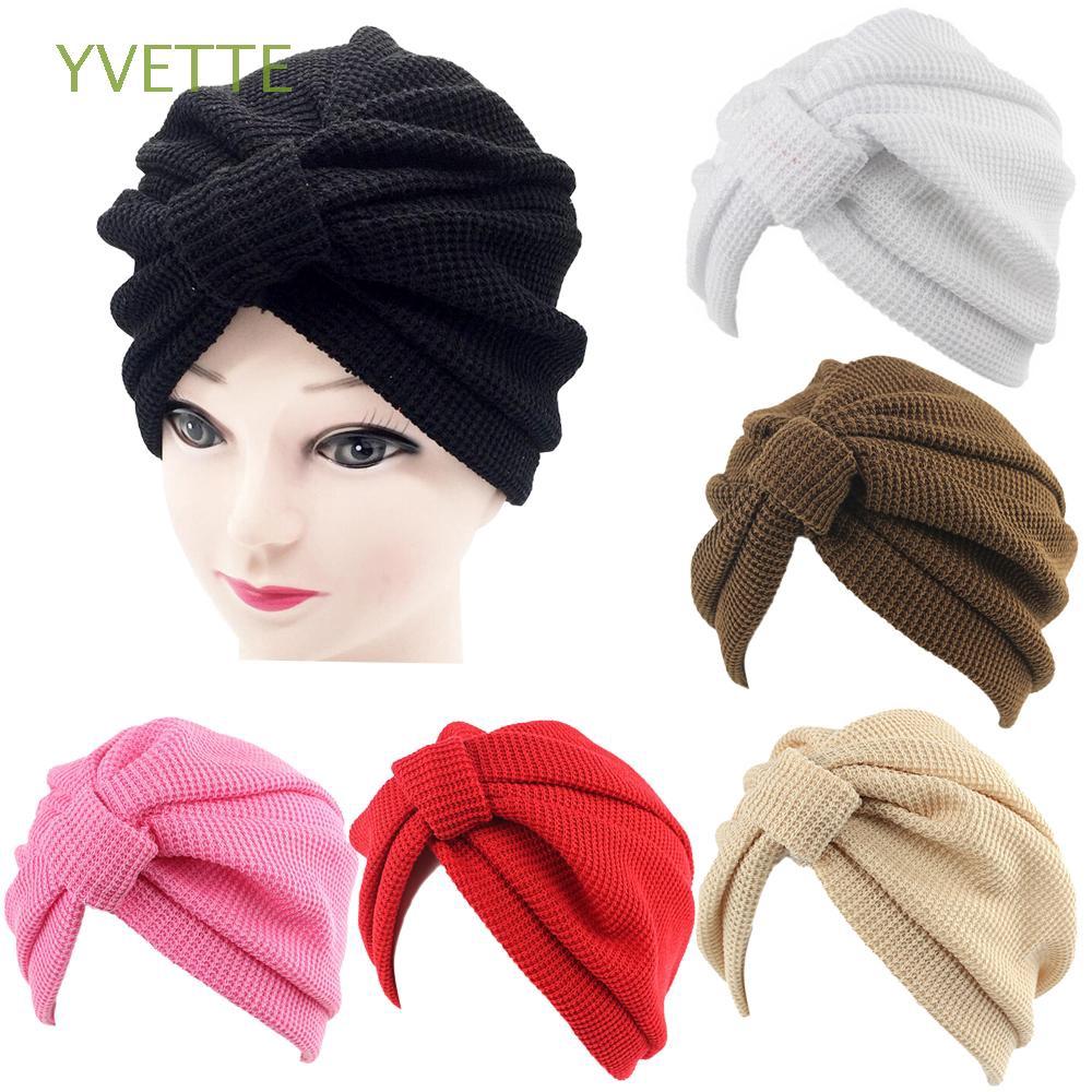 cc175058d Solid Color headwear headscarf Ruffle Cancer Chemo Hat