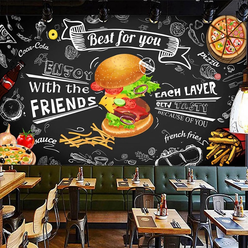 Custom Mural Wall Paper 3d Burger Fast Food Restaurant Coffee Shop Kitchen Photo Backdrop 3d Wall Murals Wallpaper Living Room Shopee Philippines