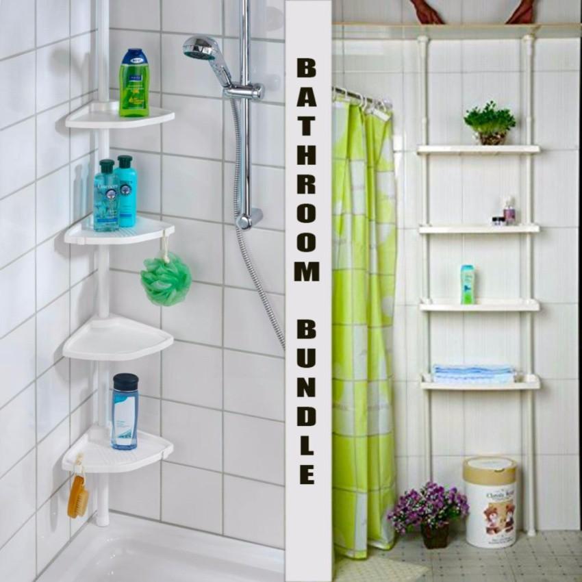 Adjustable Bathroom Corner Pole Caddy Shower Organizer W Bathroom Shelf 4 Tier Shopee Philippines