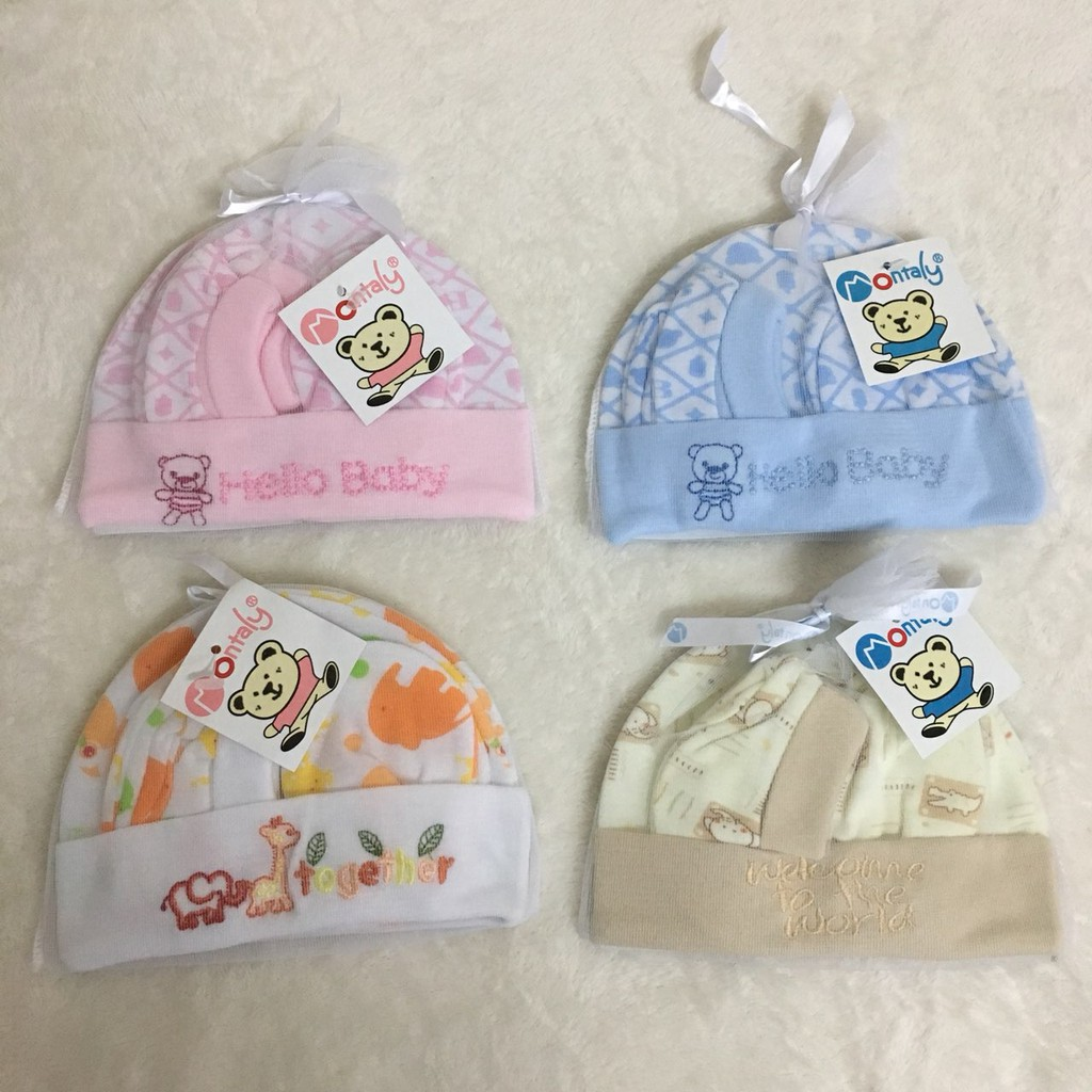 f43cf5f1318 Montaly 3 in 1 Newborn Baby Set BONNET BOOTIES MITTENS SET