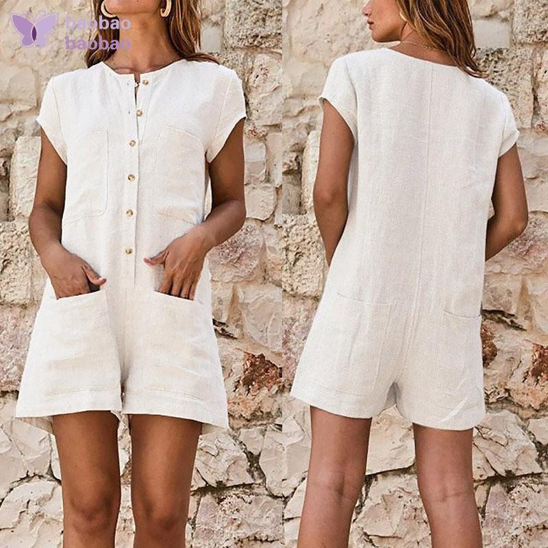 Solid Casual Boho Women Jumpsuit Playsuit Button Plain Linen Wide Leg Trousers