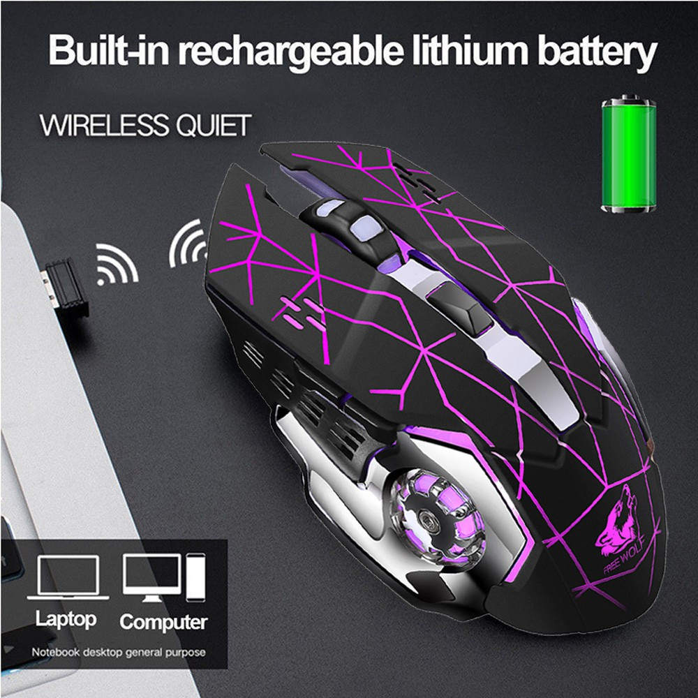 Rechargeable Wireless Silent LED Backlit USB Optical Ergonomic Gaming Mouse 15G