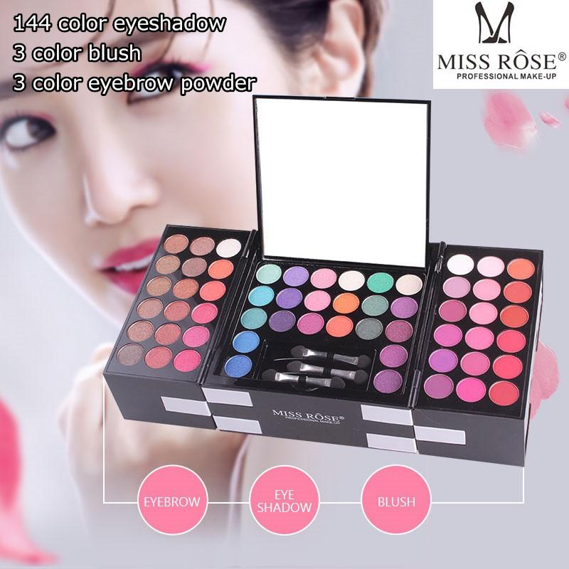 65babd38ec35 FDL MISS ROSE Foldable Eyeshadow Makeup Box 144 color eyeshadows 3 blushs e