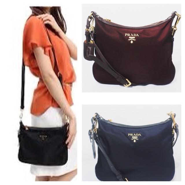 d1b441f275b3e3 Prada Tessuto + Saffiano Nylon Sling Bag BT0706 | Shopee Philippines