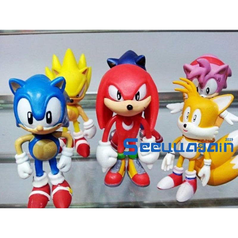 See6pcs Set Sonic The Hedgehog Amy Tails Mephiles Knuckles 6cm 2 4in Pvc Figure Shopee Philippines