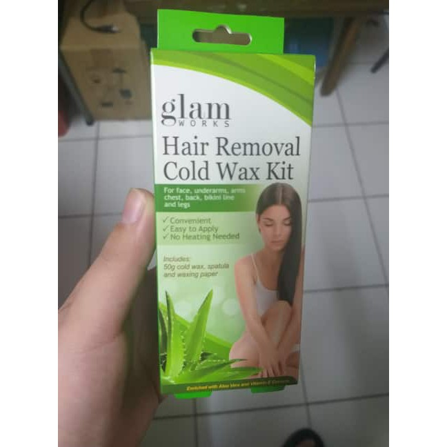 Glam Works Hair Removal Cold Wax Kit Aloe And Vit E 50g Shopee