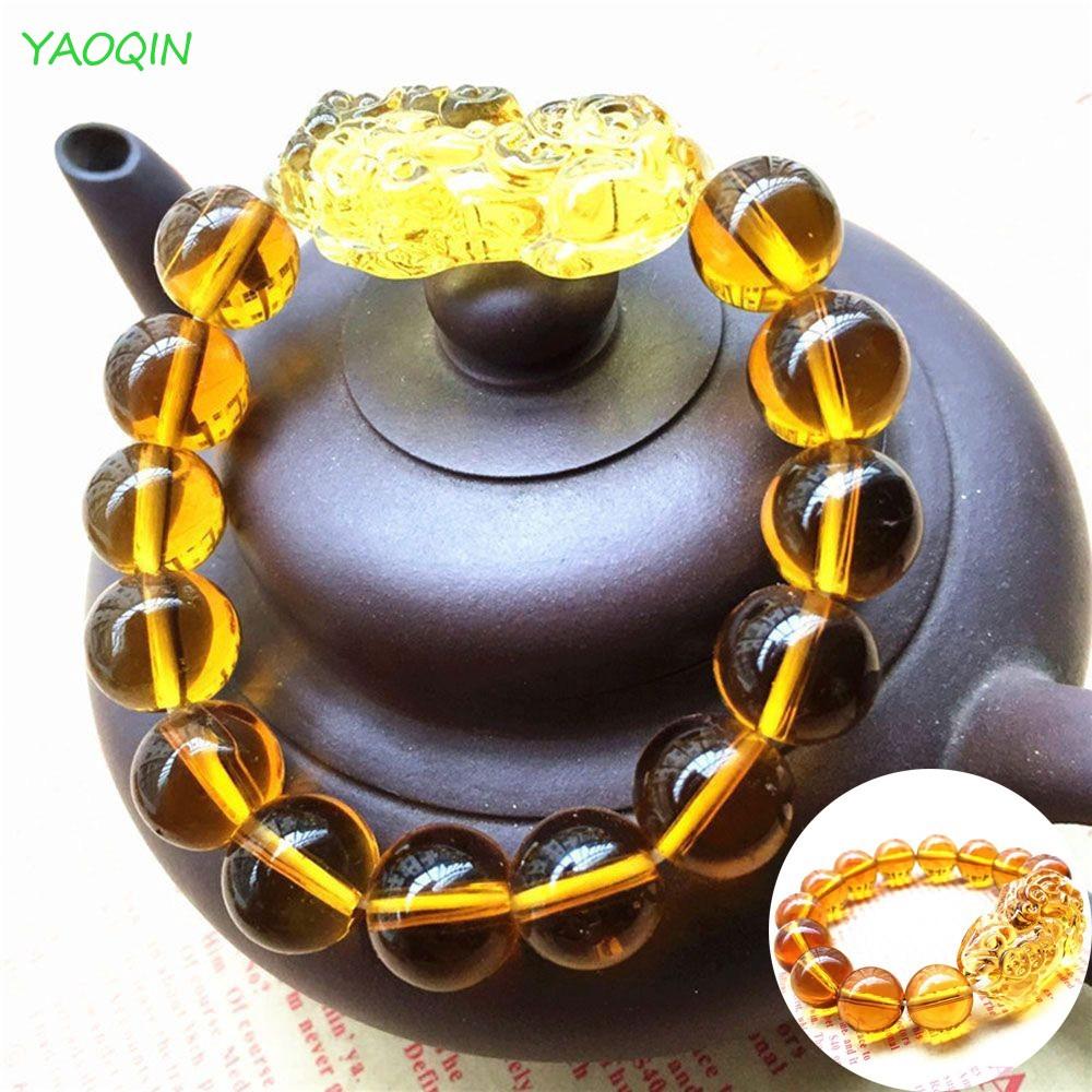 [COD]Fashion Feng Shui Citrine Yellow Pi Yao Pi Xiu Bracelet Bead for  Wealth Luck