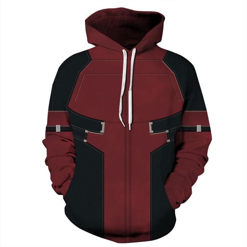 Deadpool Trainee Cosplay Costume 3D Printed Zipper Jacket Hoodie Sweatshirt