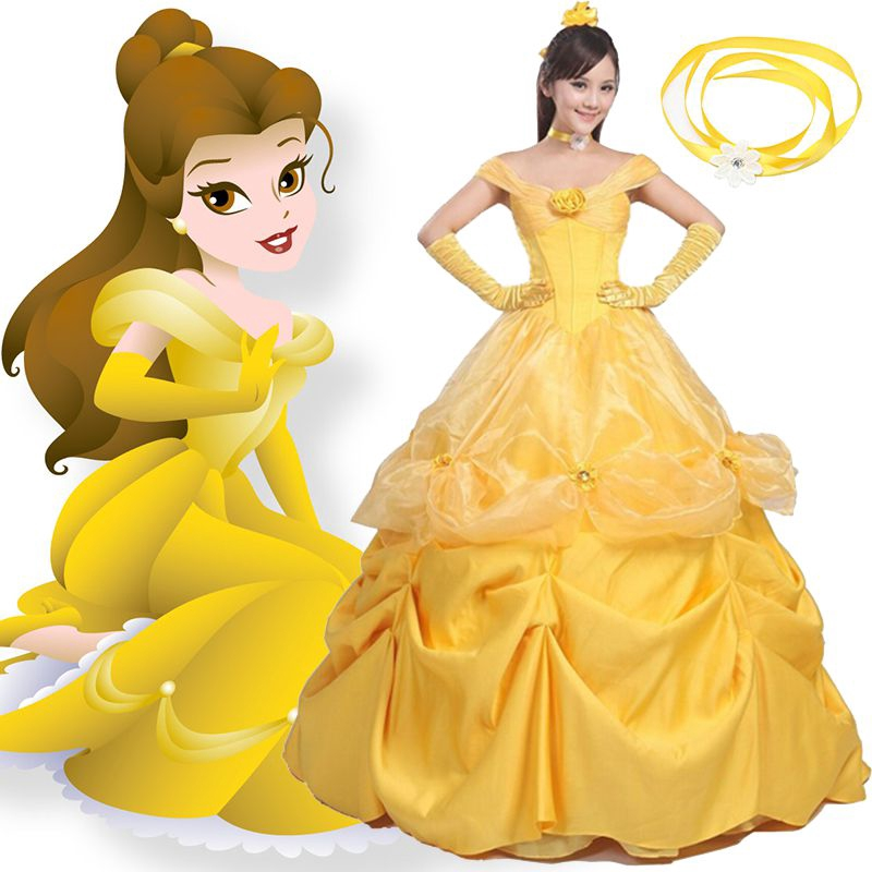 Belle Classic Disney Princess Beauty Beast Fancy Dress Halloween Child Costume