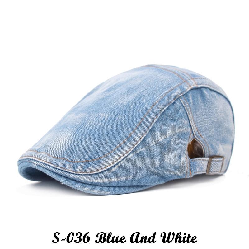 Spring   Autumn Vintage Denim Male Beret Casual Women s Hat  bad30e3e3fa