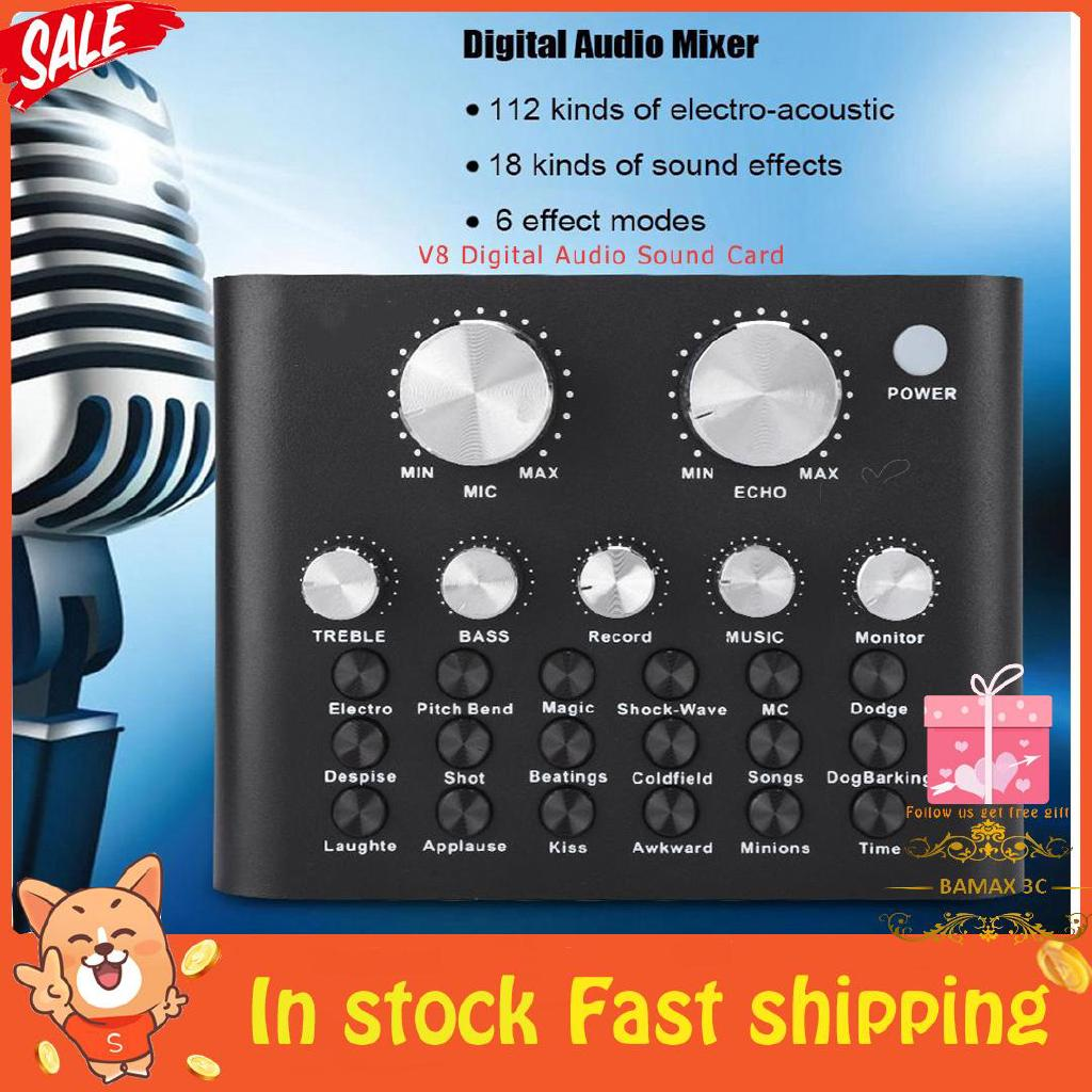 V8 Audio Mixer External USB Live Sound Card Karaoke PC Mobi | Shopee