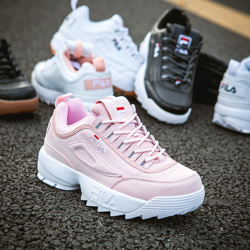 1000% original Fila disruptor II shoes pink white