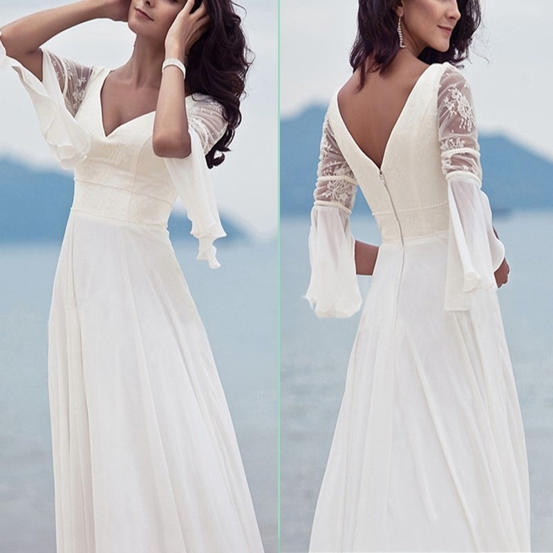 Women Summer Mesh Sleeve Dress Lace V Neck Long White Elegant Beach Wedding Dress Shopee Philippines,Knee Length Fall Wedding Guest Dresses With Sleeves