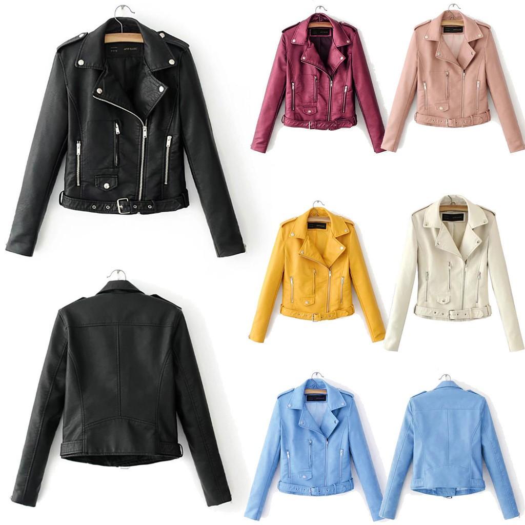 Women/'s Short Jacket Punk Biker Motorcycle Lapel Leather Zip Up Coat Outwear