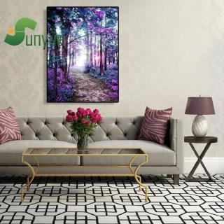 Painting By Numbers Kit DIY Purple Grove Canvas Oil Art Picture Craft Home Decor