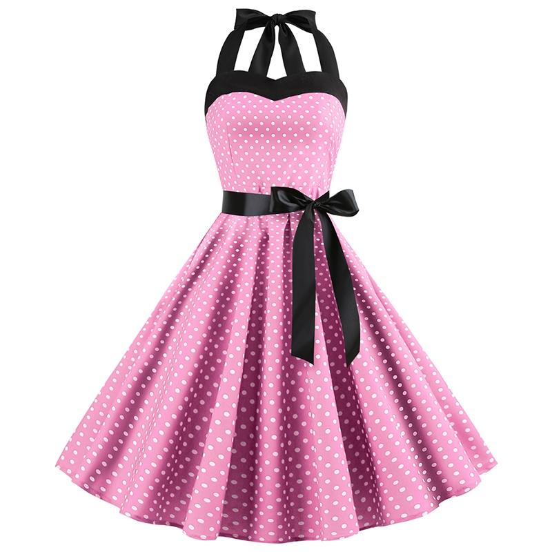 Retro women Sleeveless halter Dress Evening Polka Dot Summer Party vintage