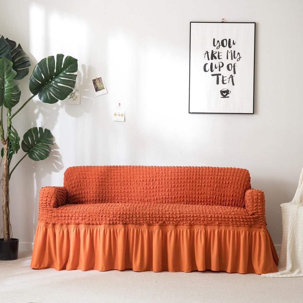 Orange Sofa Cover With Skirt Elasticity