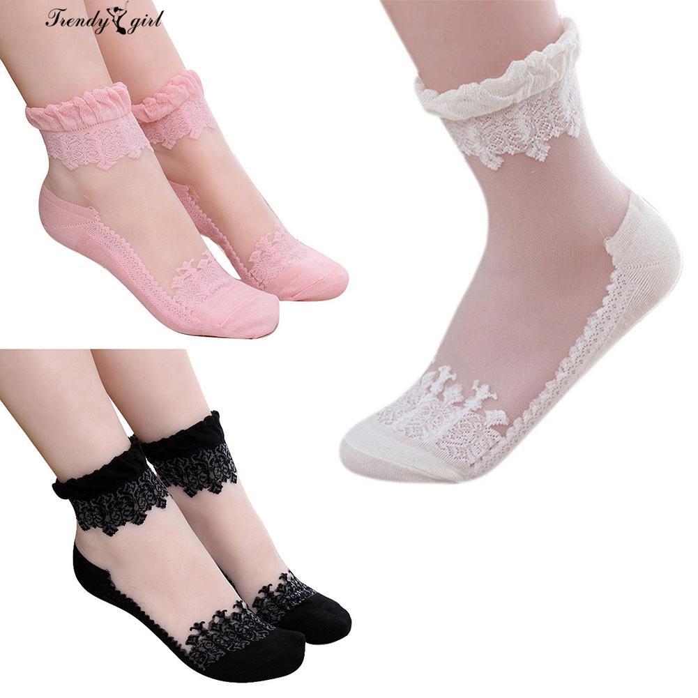 5cb815fb0 1 Pair Ultrathin Transparent Lace Elastic Short Thin Breathable Socks Women  Gift