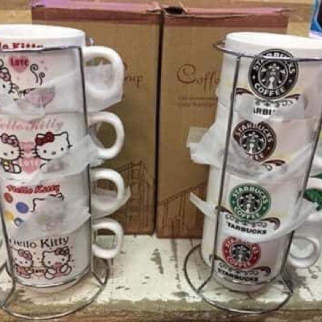 Black Mug 11 oz Coffee//Tea Hello Kitty Christmas Birthday Angel and Devil