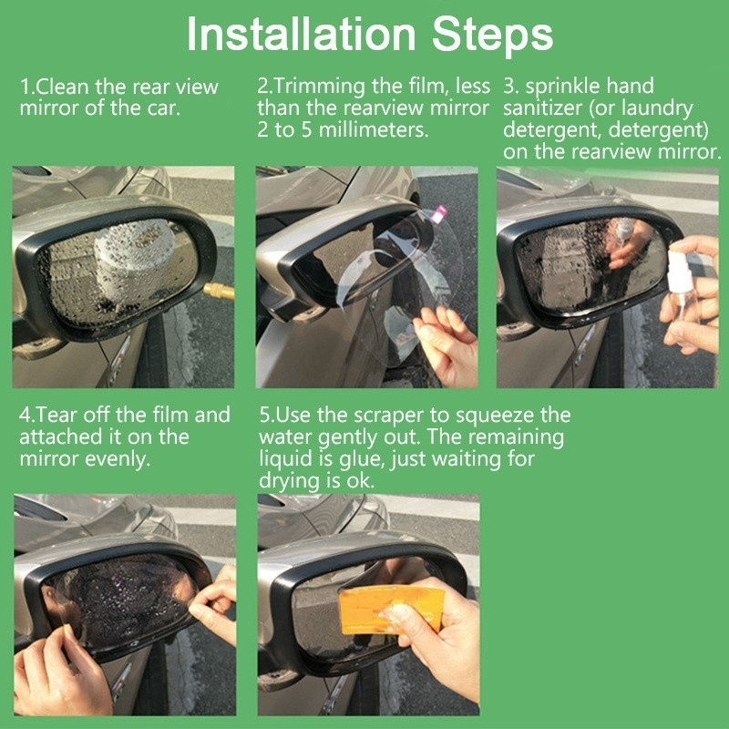 Sushine Anti Fog Film Car Rearview Waterproof Anti-Fogging Anti-Mist Anti-Dazzle Anti-Glare Side Mirror Window Protector Film Anti Fog Clear Car Rearview Mirror Accessories