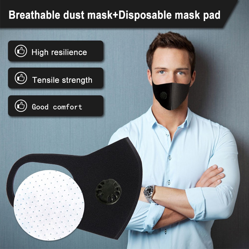 Black Fashion Filter Pad Mouth Mask Single Breathing Valve Cycling Respirator