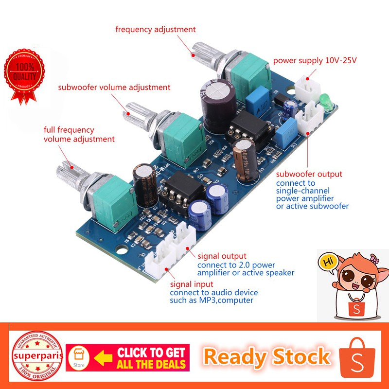 👍Best Low Pass Filter Pre AMP Pre-amplifier Board Subwoofer