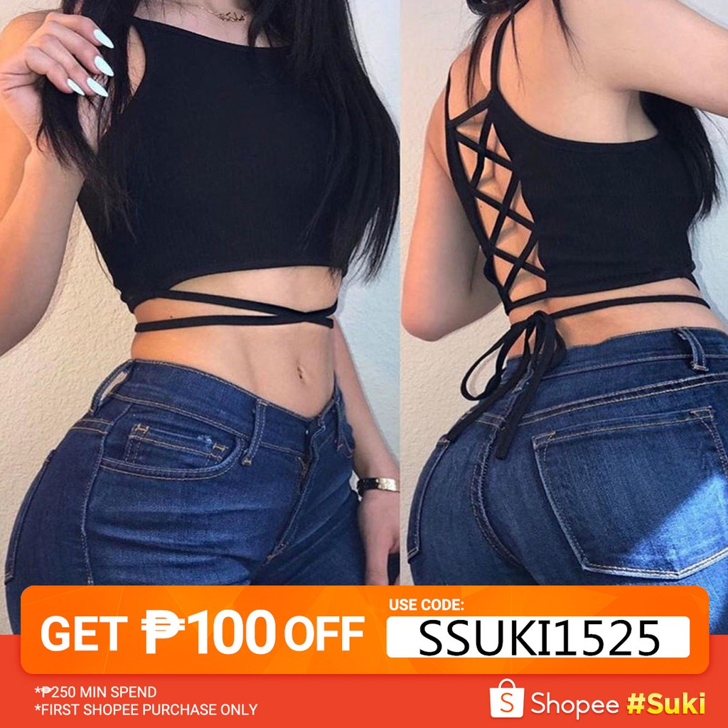 197aface210 Ladies Pure Color Criss Cross Halter Ribbed Crop Top(118) | Shopee  Philippines