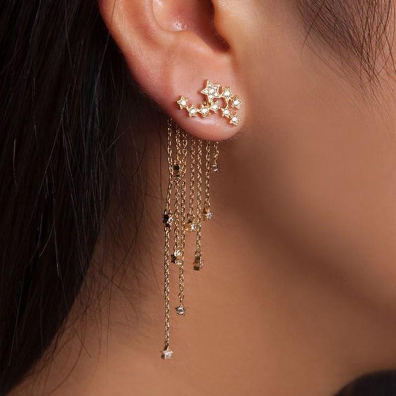2019 Newly Asymmetrical Hairpin Pearl Crystal Long Tassel Earrings Ear Jewelry