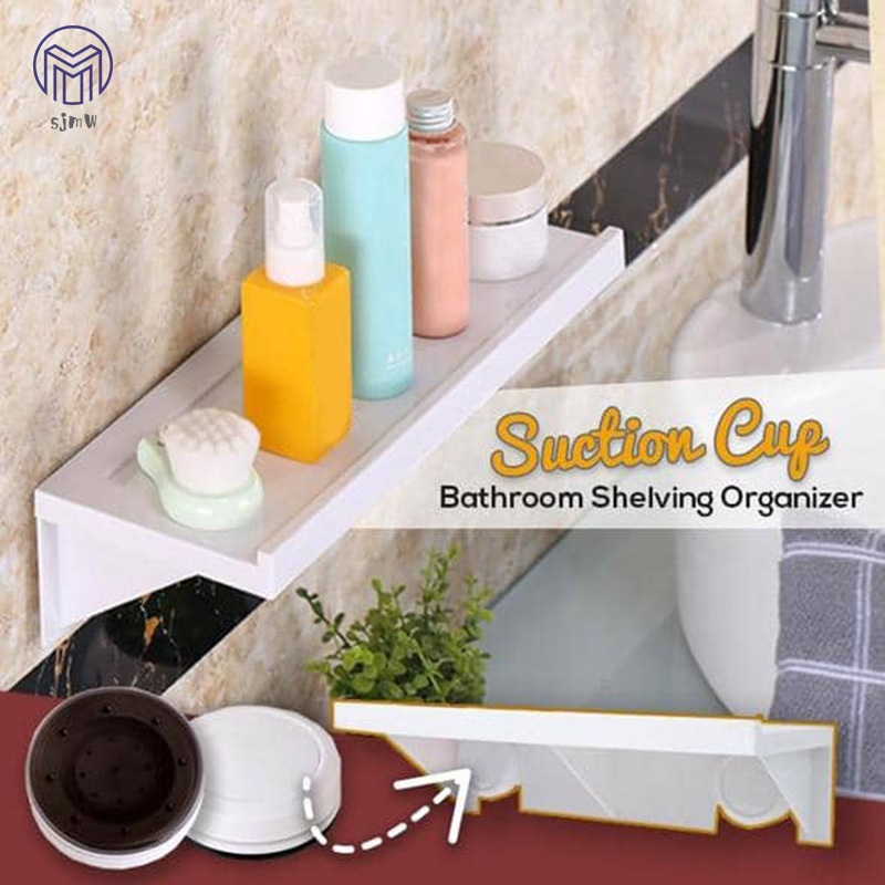 Container Kitchen Bathroom Basket Rack Shower Shelf Storage Suction Cup No Punch