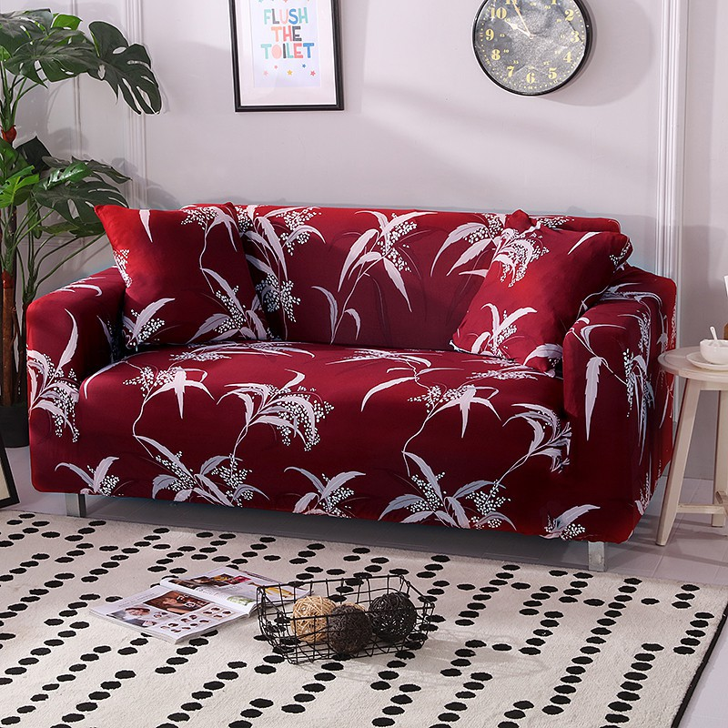 Red Sofa Cover 1/2/3/4 Seat Sofa Slipcover Stretch Protect